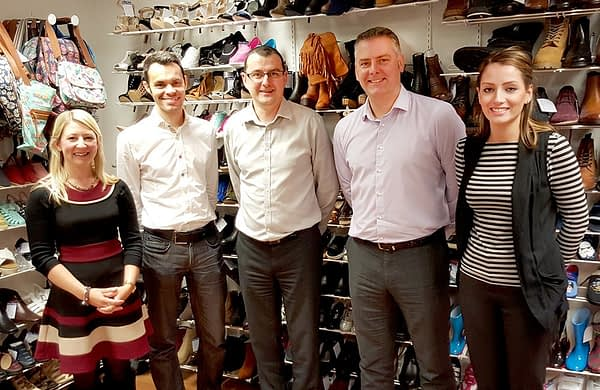 Claire Brain & Ian Lockwood with Shoe Zone Head of E-commerce Andrew Council, lead developer Gary Baines and marketing manager Charlotte Voss.
