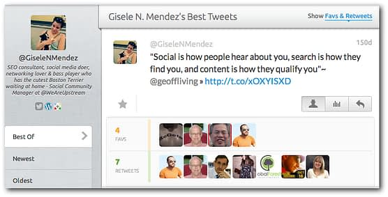 Favstar provides you with statistics on your most popular tweets