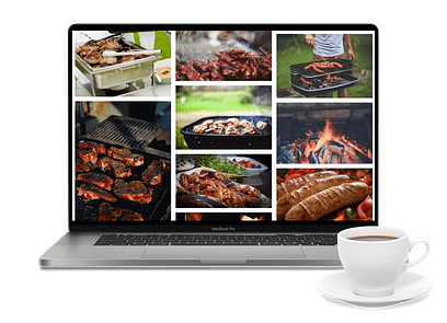 A laptop showing images of barbequed food