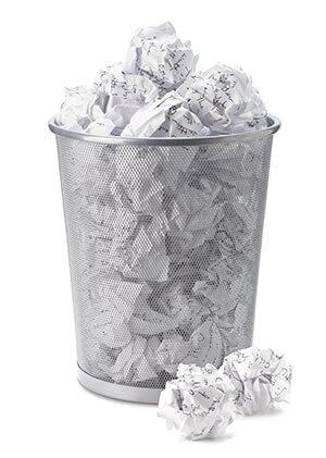 A bin full of crumpled paper