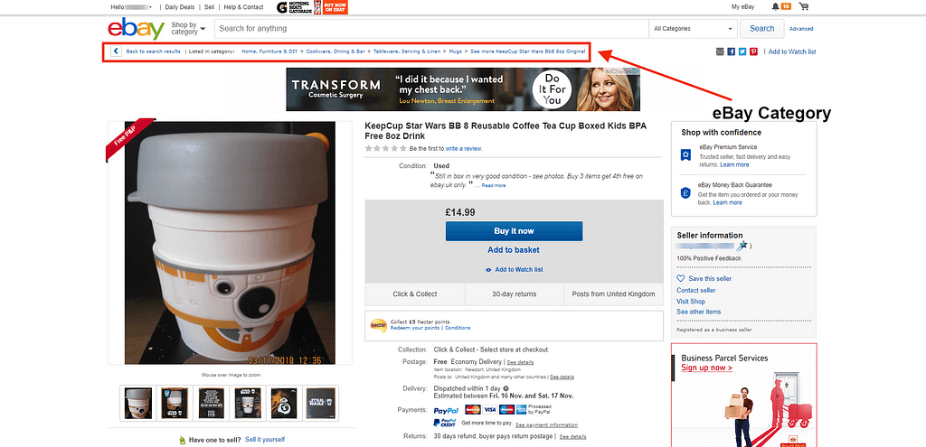 Selling on eBay breadcrumbs