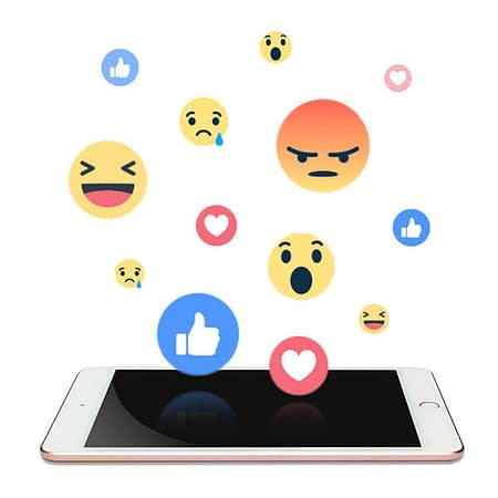 Reaction emojis from social media on a mobile phone